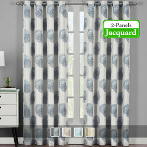 2 Panels Lafayette Modern Abstract Jacquard Grommet Window Drapes & Curtains