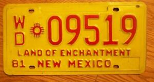SINGLE NEW MEXICO LICENSE PLATE 1981 - WD*09519 - Land of Enchantment