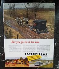 1950 caterpillar tractor equipment horses pull car out of mud ad