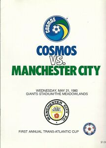 1980 New York Cosmos vs Manchester City program, soccer, NASL