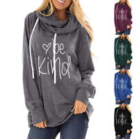 Women's Be Kind Printed Hoodies Sweatshirt Long Sleeve Casual Pullover Tops Coat