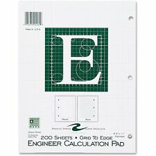 "Roaring Spring Engineering Pad 5""x5"" Quad 3HP 200 Shts 11""x8-1/2"" Green 95589"