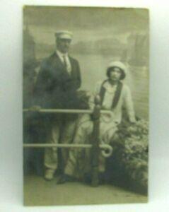c 1910 Man & Woman Couple Studio Nautical Scene RPPC Real Photo Postcard