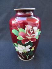 """Vintage Japanese Pigeon Blood Red Foil Cloisonne Vase Pink White Roses 4.75""""H"""