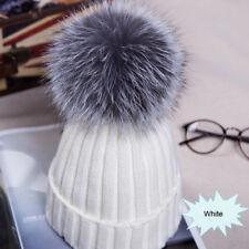 Large Ball Womens Hat Winter Fox 15cm Fur Pom Pom Knit Beanie Ski Cap Bobble