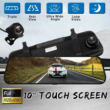 """10"""" Touch Screen Rear View Mirror Camera Cycle Recording Night USE Dual Lens"""