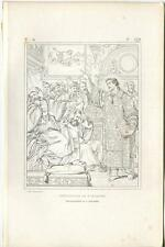 ANTIQUE ST. SAINT STEPHEN MARTYR PREACHING BIBLICAL TEACH ETCHING ART OLD PRINT