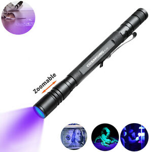 Zoomable 395nm UV Light Penlight Black Light Scalable Clip Pen Light Flashlight