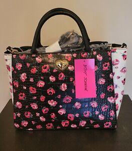 Betsey Johnson Floral Satchel Black white Handbag