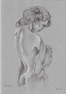 original drawing A3 523DO art samovar Pastel Realism female half naked Signed