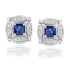 14K Solid White Gold Men's Cufflink Natural Gem Stone Tanzanite & Diamonds