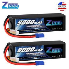 2x Zeee 9000mAh 14.8V Ec5 4S 100C Lipo Battery Metal Plates for Rc Car Truck
