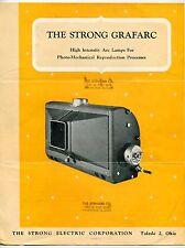 "1957 Vintage Sales Brochure: ""THE STRONG GRAFARC"" High Intensity Arc Lamps"