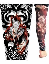 Hombre Lobo resbalón en brazo falso Lobo Elástico Media Mangas de tatuaje temporal
