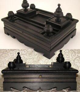 """Large Napoleon III Era Carved Ebony Wood 14"""" Double Inkwell or Inkstand"""
