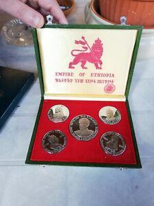 SET ETHIOPIEN 5 SILVER COINS  1972