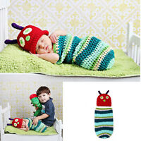 New born Baby Girl Boy Crochet Knit Photo Caterpillar Photography Prop Hat Xed