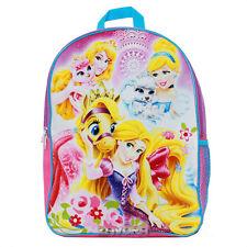 """Disney Princess & Pets 16"""" Backpack School Bag with 1 Side Mesh Pocket"""