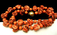 """Vintage 18"""" Early Miriam Haskell Coral Glass Lucite Swirled Bead Necklace A18"""