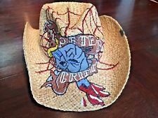 Peter Grimm Painted Skull & Dagger Straw Cowboy Drifter Hat