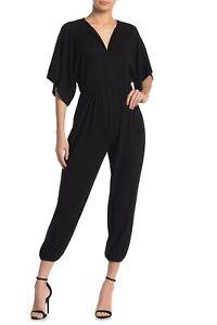 Women's Stretch Knit V Neck Dolman Sleeve Crop Leg Jumpsuit Size M BLACK