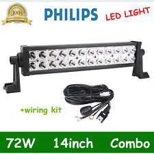 14INCH 72W LED Work Light Bar Spot Flood Driving+Wiring Harness Kit 40A14V Relay