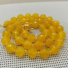 Faceted Beads Necklace 18'' Aaa 10mm Natural African South Yellow Topaz