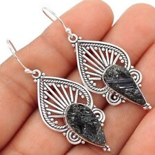 Natural Black Tourmaline Rough 925 Silver Earrings Jewelry SE102437