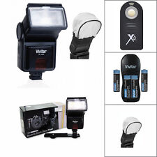 VIVITAR PRO FLASH + REMOTE + CHARGER + BATTERIES FOR PANASONIC LUMIX GX85 G7