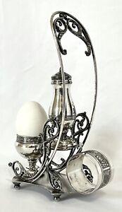 Antique Vtg Pairpoint Quadruple Plate Egg Server Salt Shaker & Napkin Ring Caddy