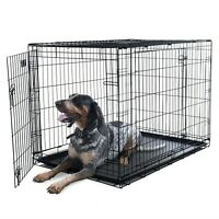 2 Door X Large Metal Dog Cage Crate Divider Wall 42 x 28 x 31 Inches