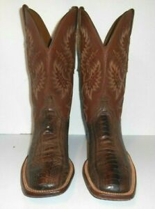11 B Lucchese 1883 Brown Ostrich Leg Leather Sole Cowboy Boots Men's