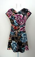 TED BAKER Pure Silk Floral Ruched Zip Corset Skater A Line Dress Size 1 UK 8 New