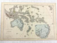 1877 Antique Map of Australia New Zealand Malaysia Hand Coloured 19th Century