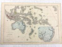1877 Antik Map Of Australia New Zealand Malaysia Hand- Farbig 19th Jahrhundert
