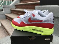 Nike Air Max 1 Flyknit Day Sz 10 NikeID white red Volt 3.26