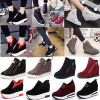 New Women's Casual Platform Hidden Wedge Shoes Ankle Boots Sneakers HighTop