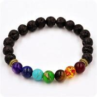Mens Bracelet with 8mm Black Lava Stone Huddha Adjustable Beaded Bracelet·