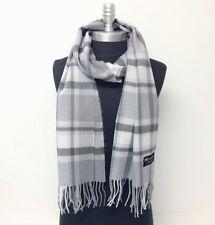 Men Women Winter Warm CASHMERE SCARF Plaid Gray / Silver SCOTLAND Wool Wrap SOFT