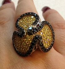 Sterling Silver Flower Ring With Black & Gold Color CZ's Size 8