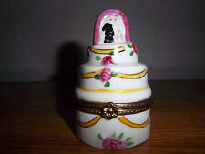 Trinket Box Wedding Ring Gift Box Porcelain Brass Bride & Groom Cake for Jewelry