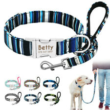 Nylon Personalized Dog Collar and Leash Set Adjustable Engraved ID Name Tags SML