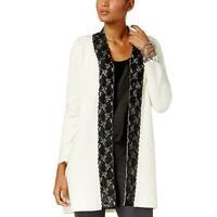 New Alfani Women's Ivory Lace Trim Cardigan Sweater Size XL NWT MSRP $109 A5306