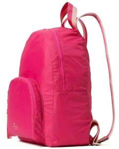 Kate Spade Arya Magenta Packable Nylon Backpack Pink WKRU6975 NWT $279 MSRP FS