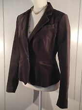 Ann Taylor Loft Velvet Single Button Jacket Chocolate Brown Fully lined Size 6