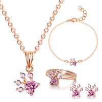 4 pezzi orme zampa gioielli set collana di cristallo braccialetto anelli or YZ