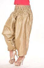 Indian AliBaba Harem WomanTrouser Baggy Plus sizeGypsy Hippie Pants Beige satin
