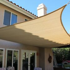 NEW SAND BEIGE MESH SUN SHADE SAIL UV BLOCKING CANOPY COVER 12x12 FT SQUARE