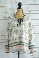Sanctuary - Ivory PASTEL black keyhole neck, semi-sheer BOHO blouse, size M