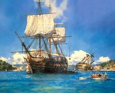 Geoff Hunt Limited Edition Print - H.M.S. Trusty in English Harbour, Antigua